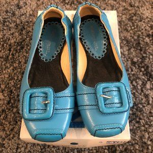 Girls Kid Express Turquoise Leather Flats